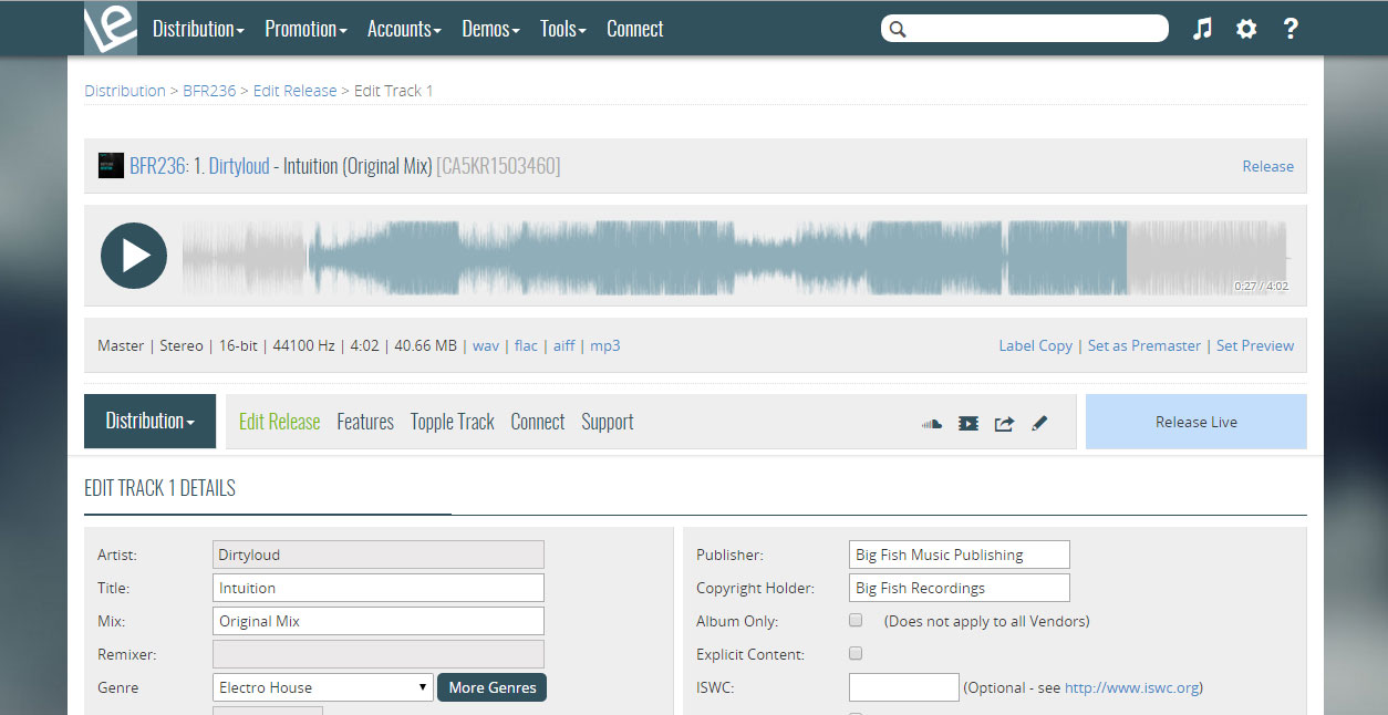 Digital Music Distribution   Label Engine