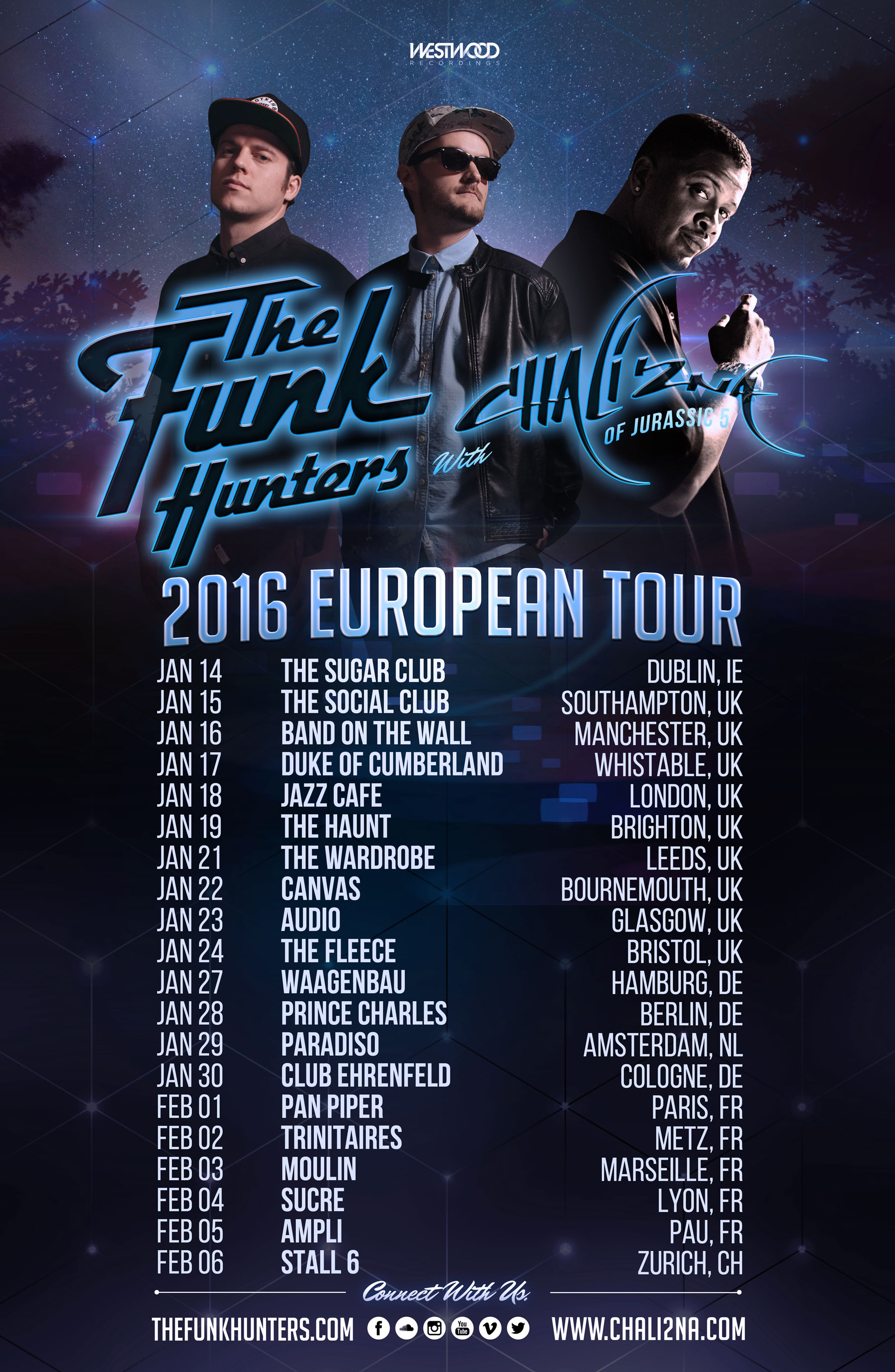 2016 Europe Tour Poster - The Funk Hunters & Chali 2na